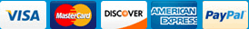 We accept Visa, Master Card, Discover, American Express,PayPal